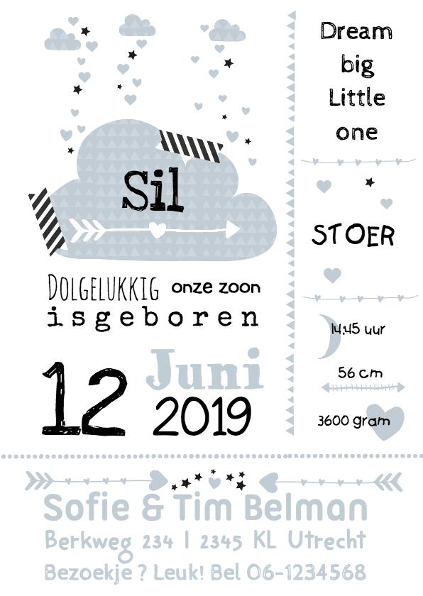 Geboortekaartjes - Geboortekaartje wolk typogafie