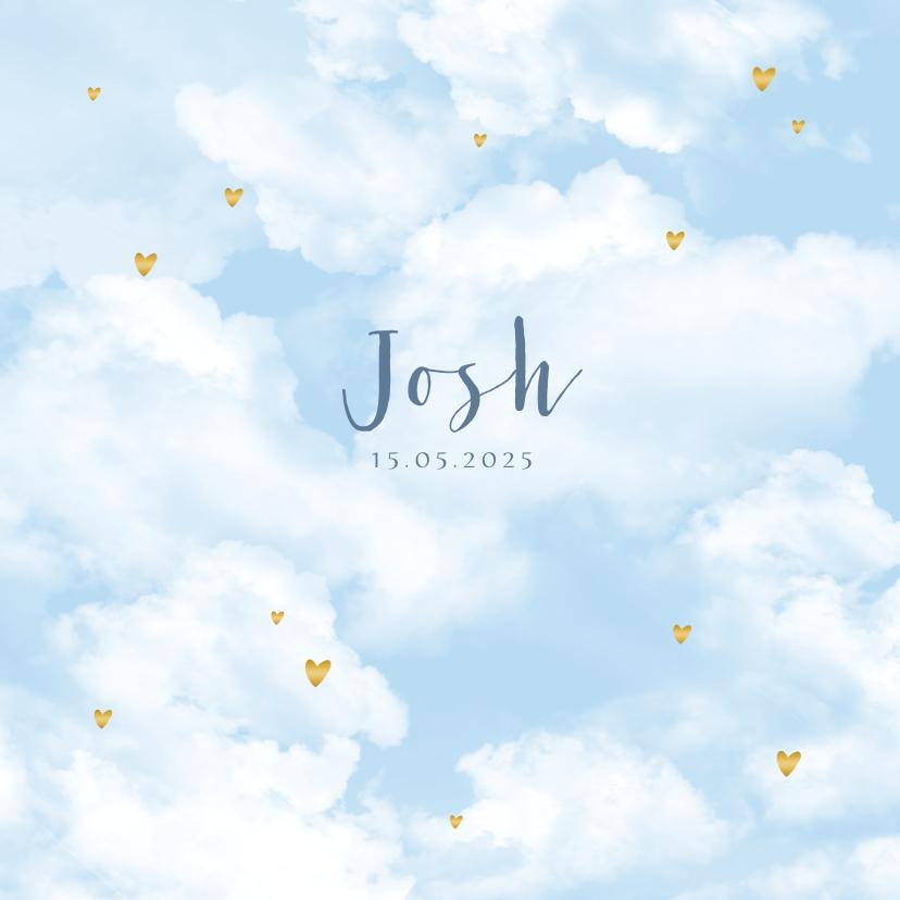 Geboortekaartjes - Geboortekaartje wolken hartjes goudlook jongen