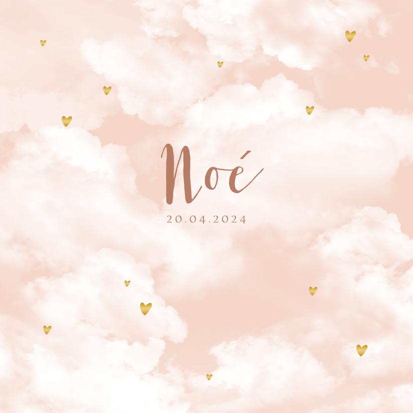 Geboortekaartjes - Geboortekaartje wolken hartjes goudlook meisje