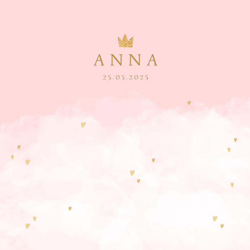 Geboortekaartjes - Geboortekaartje wolken hartjes kroontje meisje