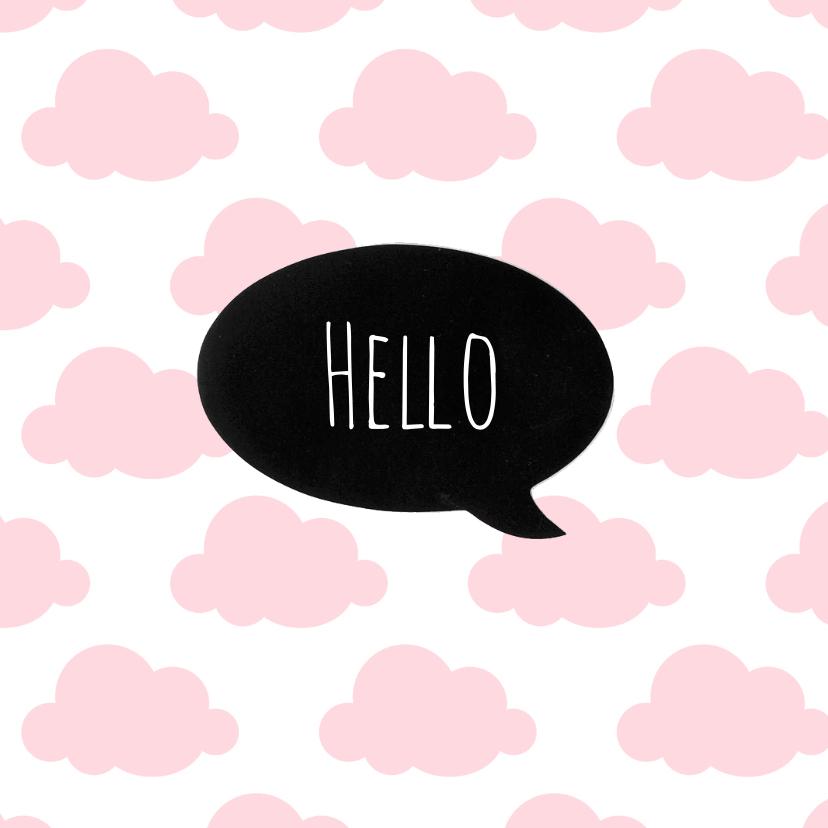 Geboortekaartjes - Geboortekaartje wolkje Hello Sweet Baby Girl