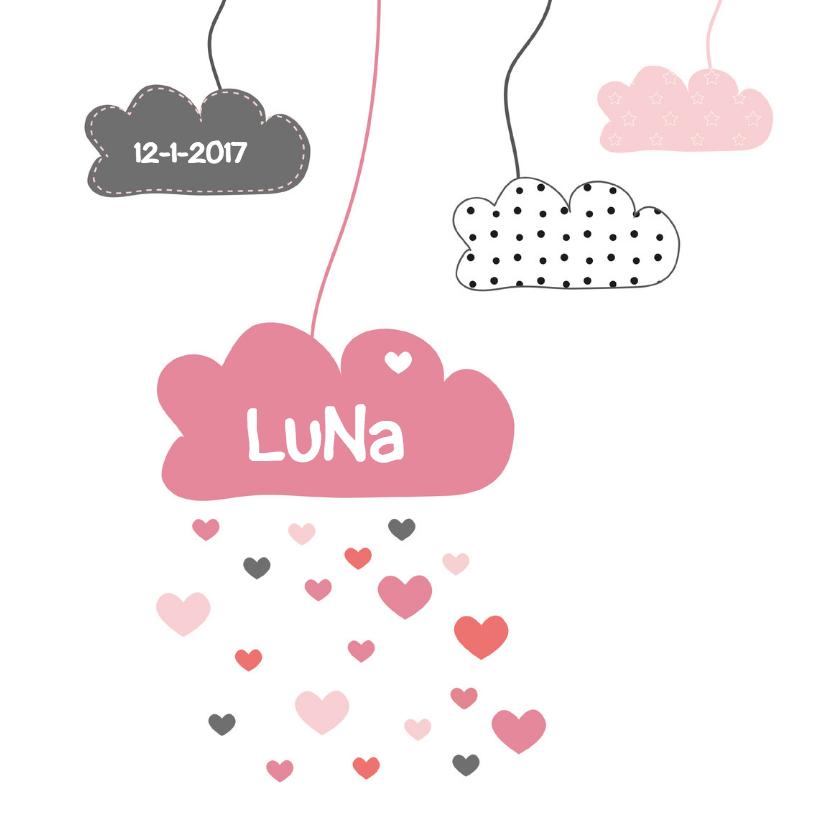 Geboortekaartjes - Geboortekaartje wolkjes meisje