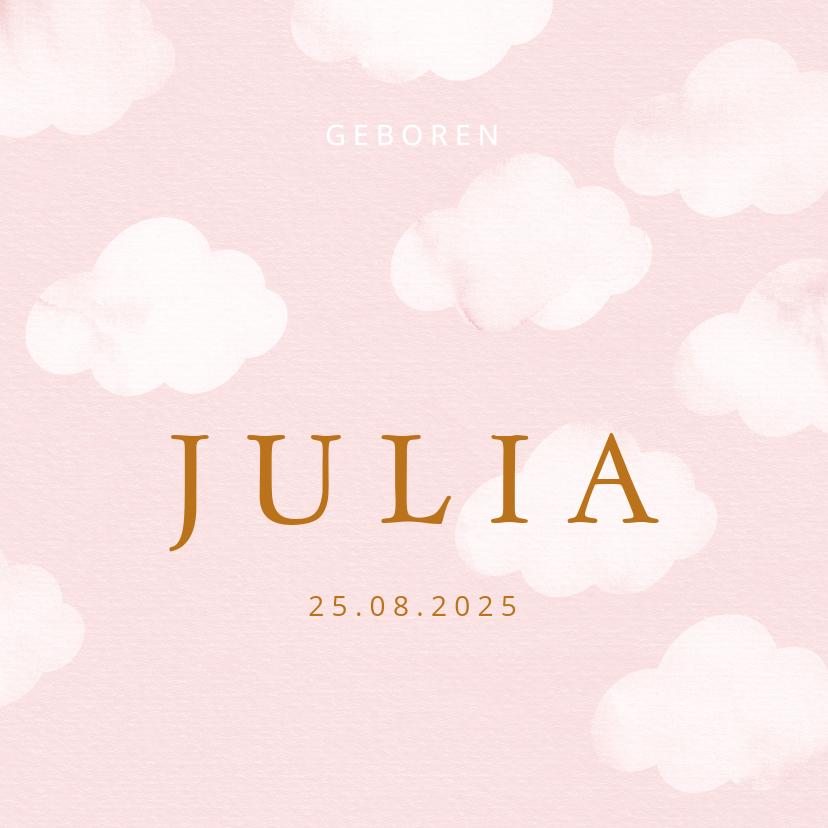 Geboortekaartjes - Geboortekaartje wolkjes waterverf roze meisje