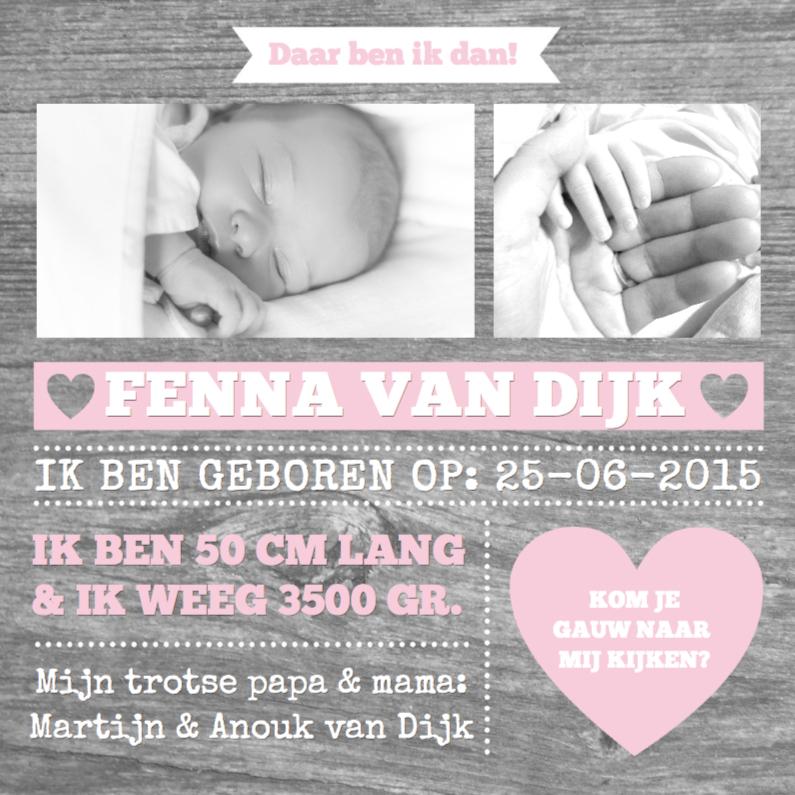Geboortekaartjes - Geboortekaartje Wood&Hearts Girl