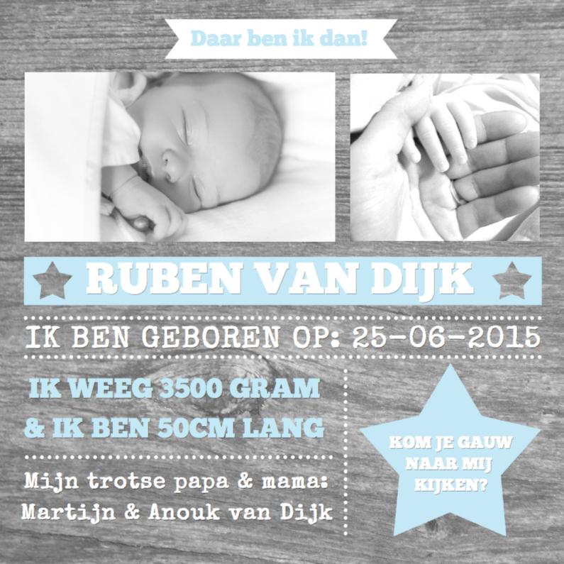 Geboortekaartjes - Geboortekaartje Wood&Stars Boy