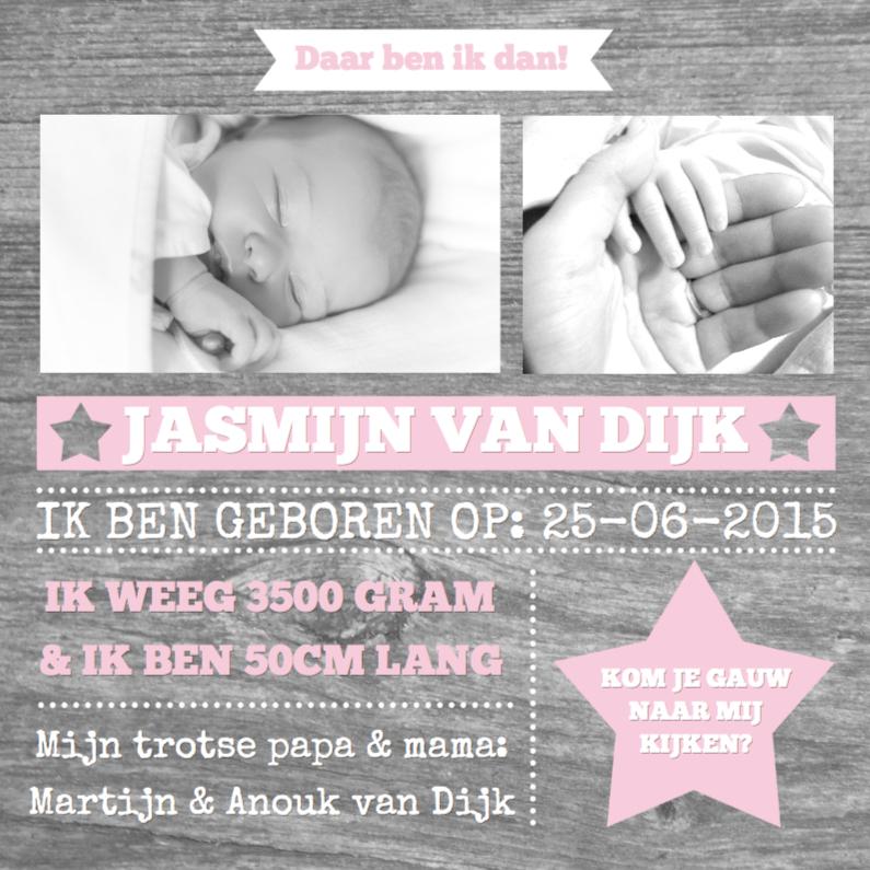 Geboortekaartjes - Geboortekaartje Wood&Stars Girl