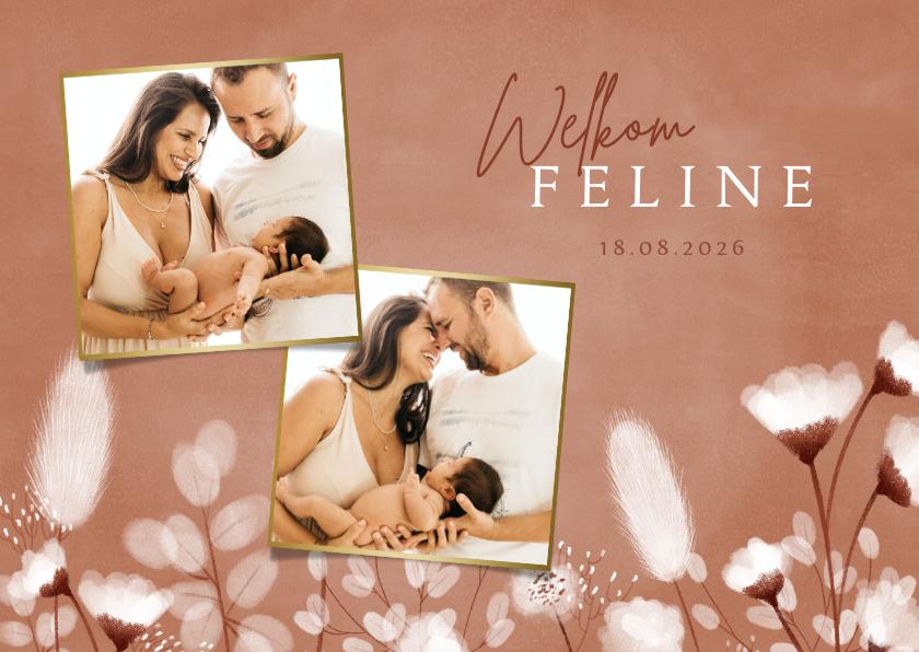 Geboortekaartjes - Geboortekaartje zachte kleuren met droogbloemen en foto's