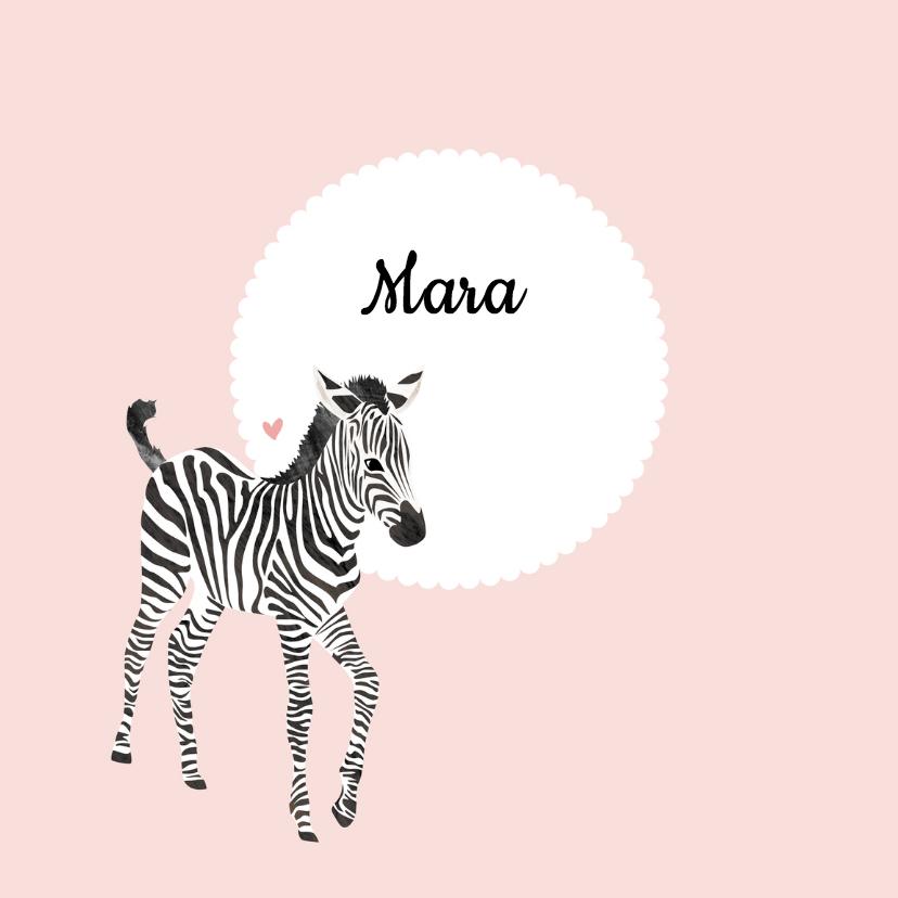 Geboortekaartjes - Geboortekaartje zebra lief