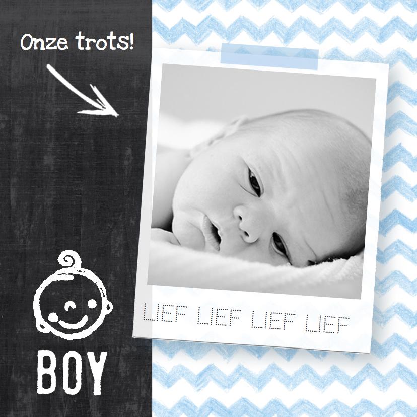 Geboortekaartjes - Geboortekaartje zigzag hip foto