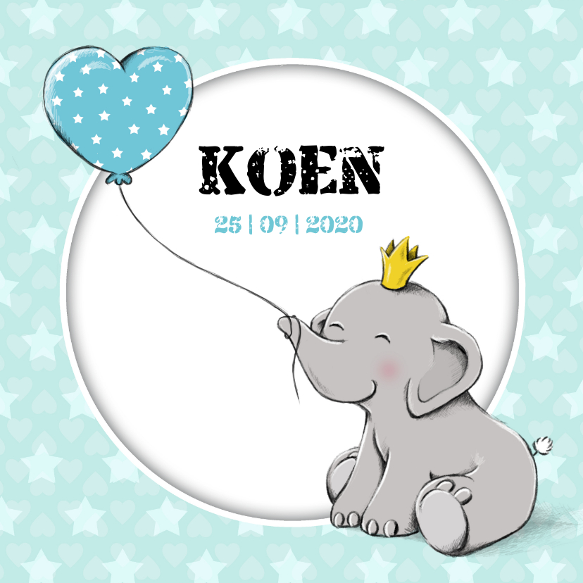 Geboortekaartjes - Geboortekaartje zoon met olifantje en kroon