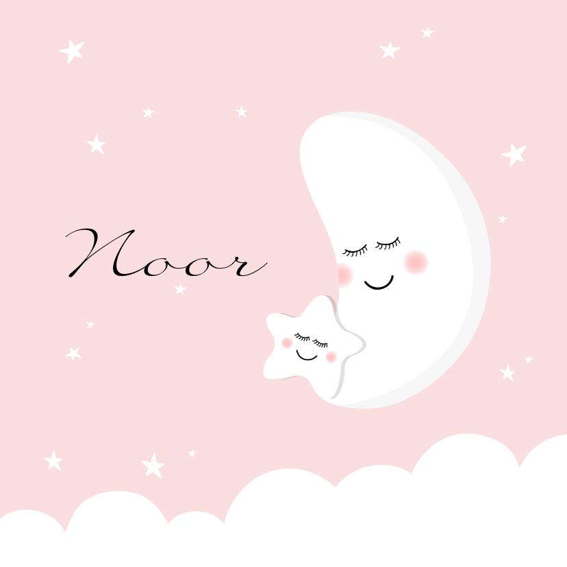 Geboortekaartjes - Geboortekaartje zusje maan ster