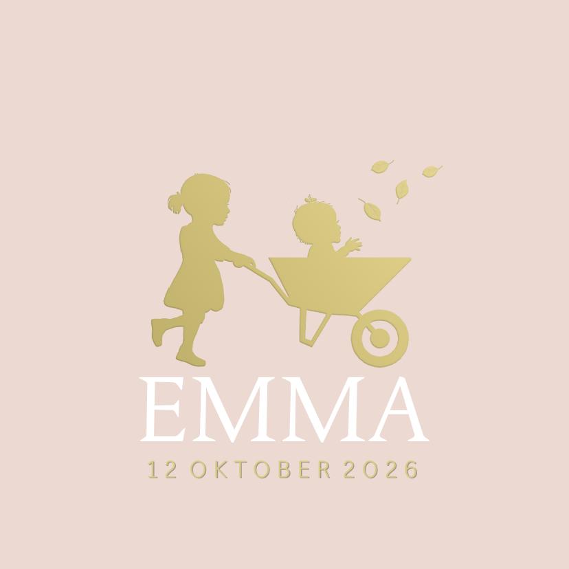 Geboortekaartjes - Geboortekaartje zusje met kruiwagen meisje goudlook