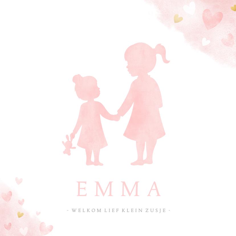 Geboortekaartjes - Geboortekaartje zusje - waterverf met roze en gouden hartjes