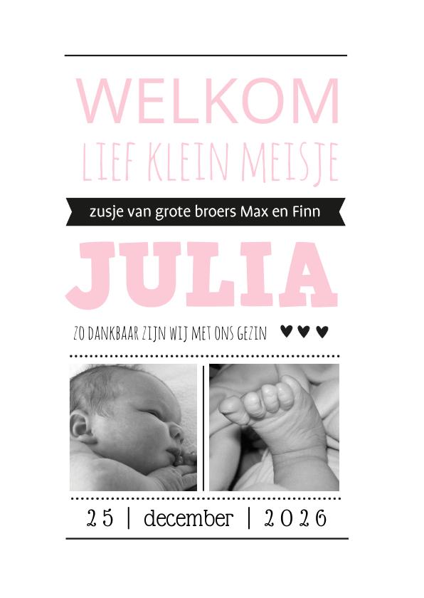 Geboortekaartjes - Geboortekaartje Zusje welkom