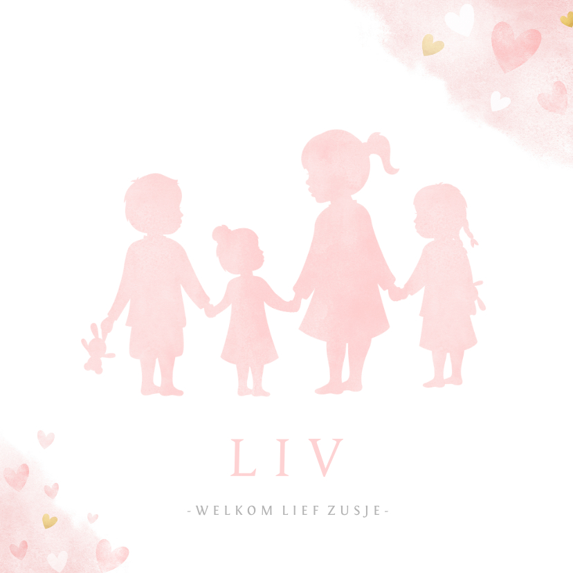 Geboortekaartjes - Geboortekaartje zusjes en broertje waterverf roze hartjes
