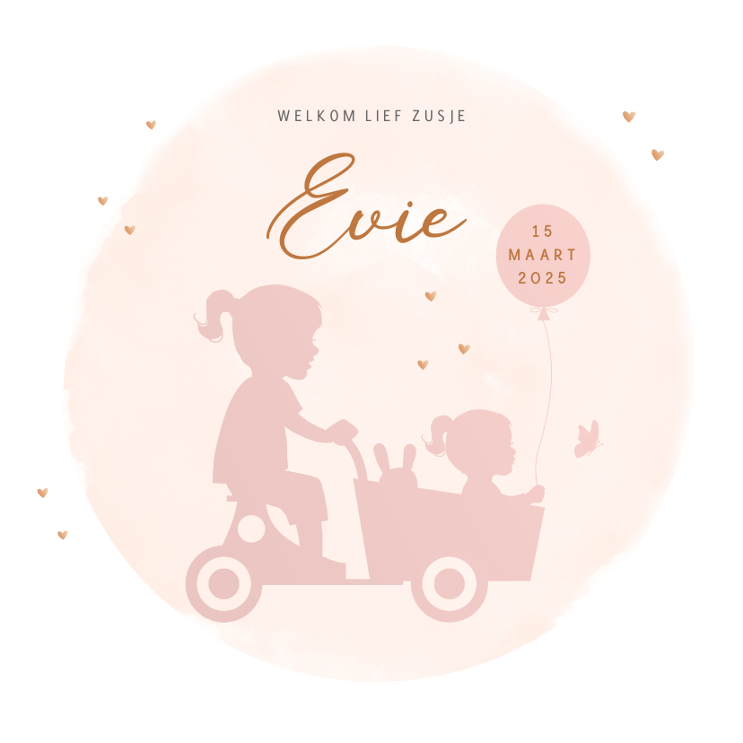 Geboortekaartjes - Geboortekaartje zusjes in houten bakfiets watercolor