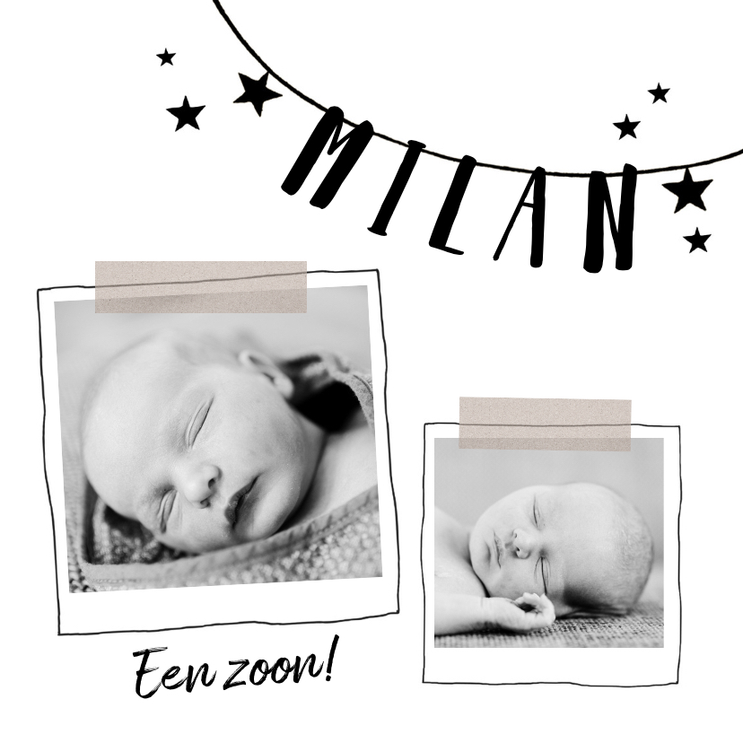 Geboortekaartjes - Geboortekaartje zwart wit Milan