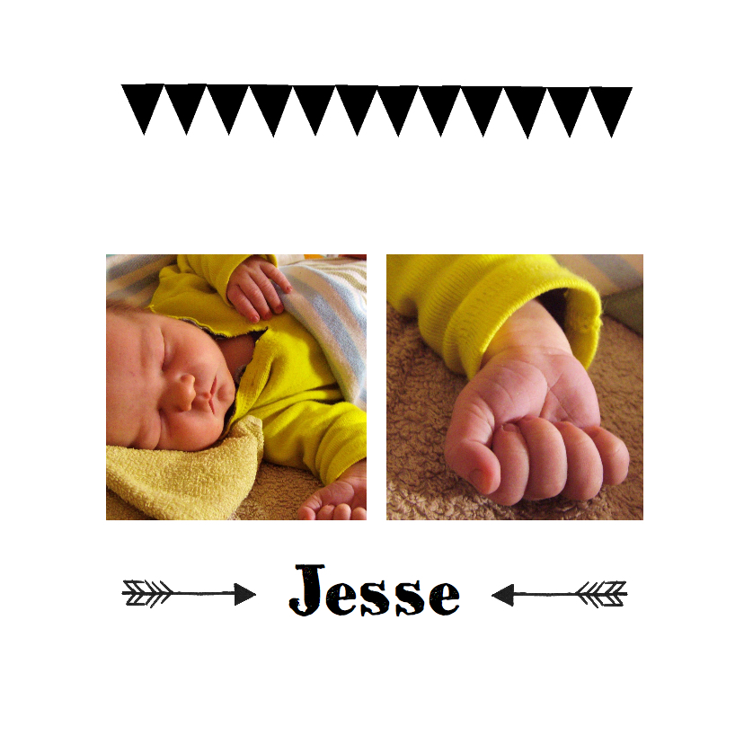 Geboortekaartjes - Geboortekaartje zwart wit vlag