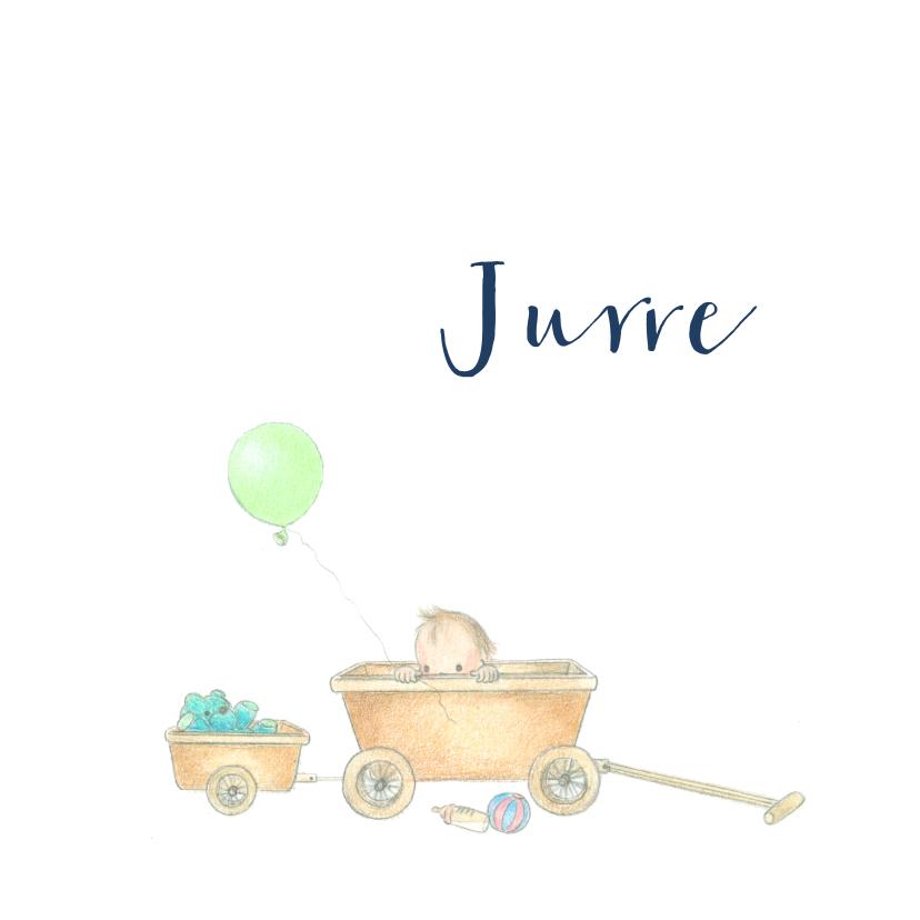 Geboortekaartjes - Geboortekaartjes - Baby in bolderwagen