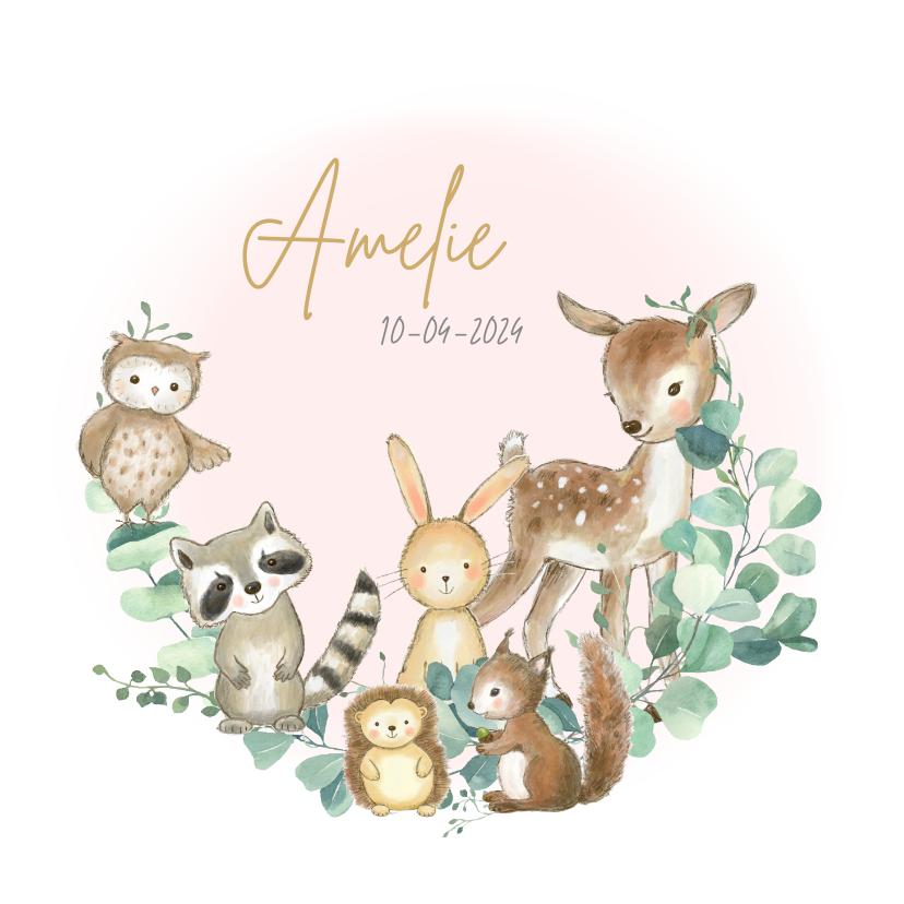 Geboortekaartjes - Geboortekaartjes - Bosdieren met roze waterverf vlek