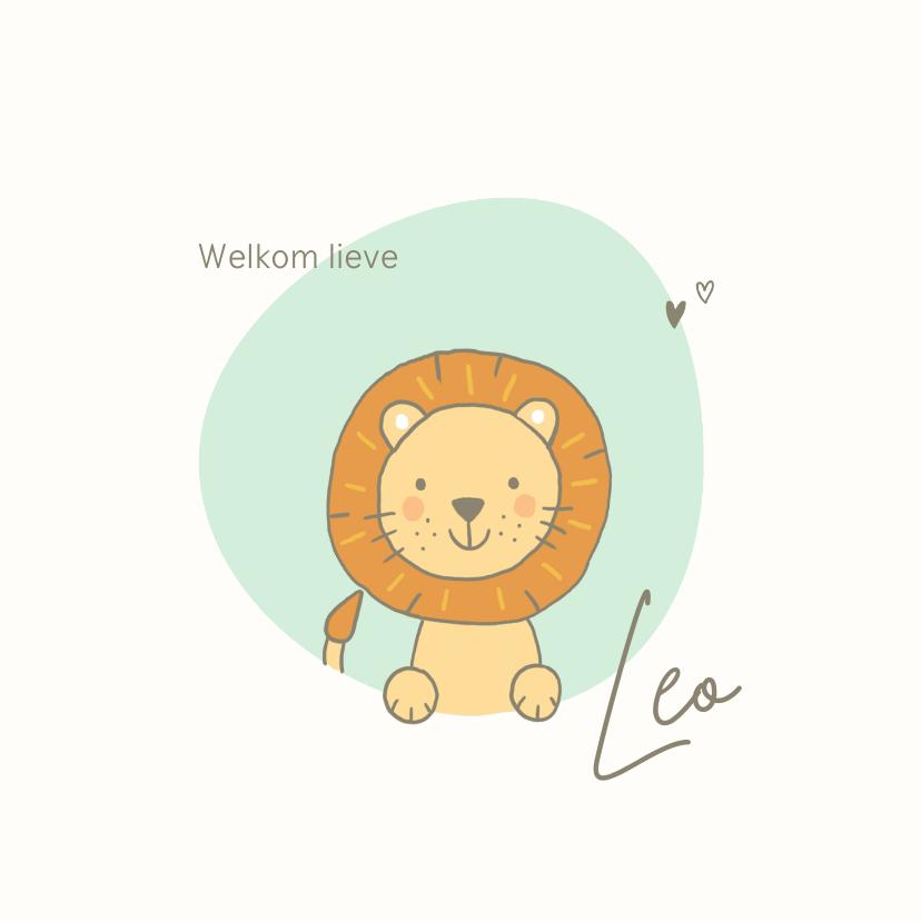 Geboortekaartjes - Geboortekaartjes - Leeuw met mint vlek en hartjes