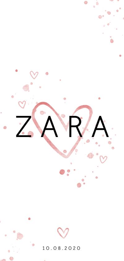 Geboortekaartjes - Geboortekaartjes met roze spetters en open hartjes lang