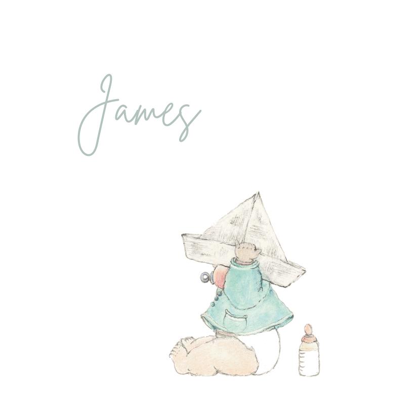 Geboortekaartjes - Geboortekaartjes - Pentekening baby met papieren hoedje