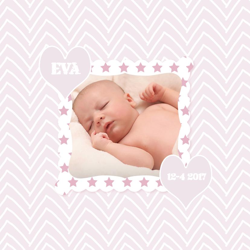 Geboortekaartjes - Geboortekaartjes Rose zigzag YO