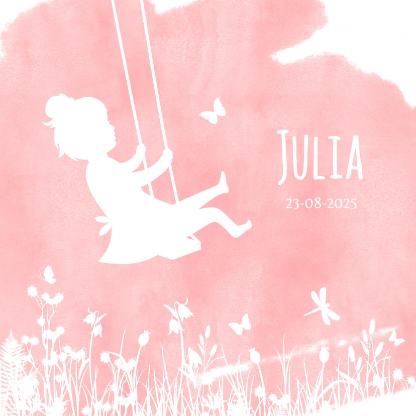 Geboortekaartjes - Geboortekaartjes silhouet meisje op schommel met vlinders