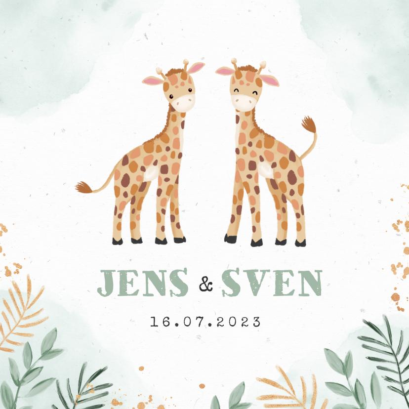 Geboortekaartjes - Geboortekaartjes tweeling giraf dieren botanisch goud