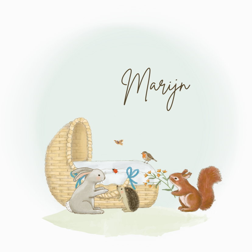 Geboortekaartjes - Geboortekaartjes - Wiegje met bosdieren jongen