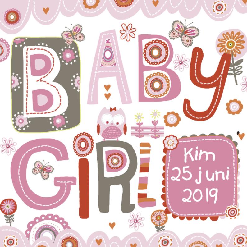 Geboortekaartjes - Geboren een meisje met uiltje