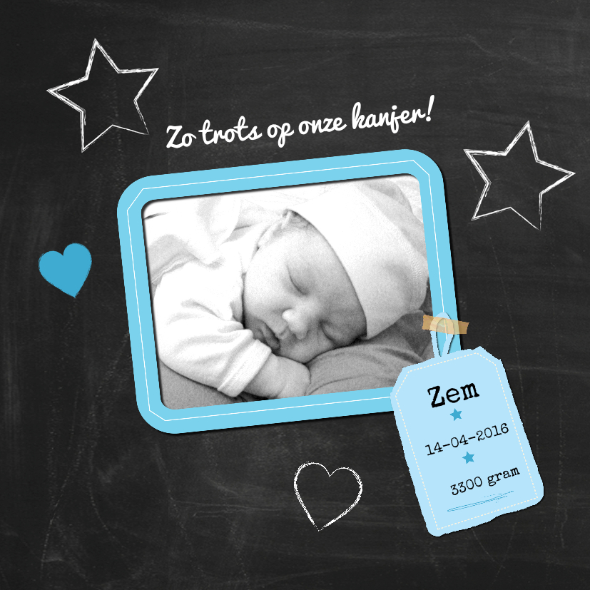 Geboortekaartjes - Geboren jongen eigen foto-ByF