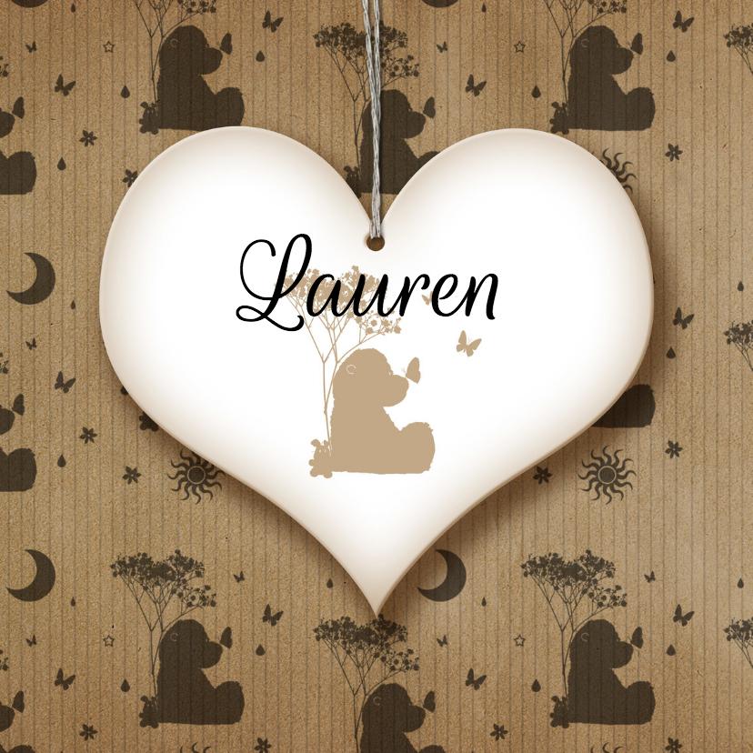 Geboortekaartjes - Geboren meisje beer en vlinders