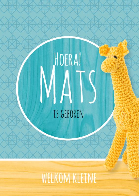 Geboortekaartjes - Gehaakt geboortekaartje Giraffe!