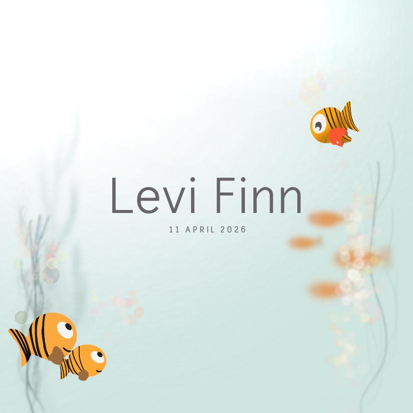 Geboortekaartjes - Gezin geboortekaartje water vis