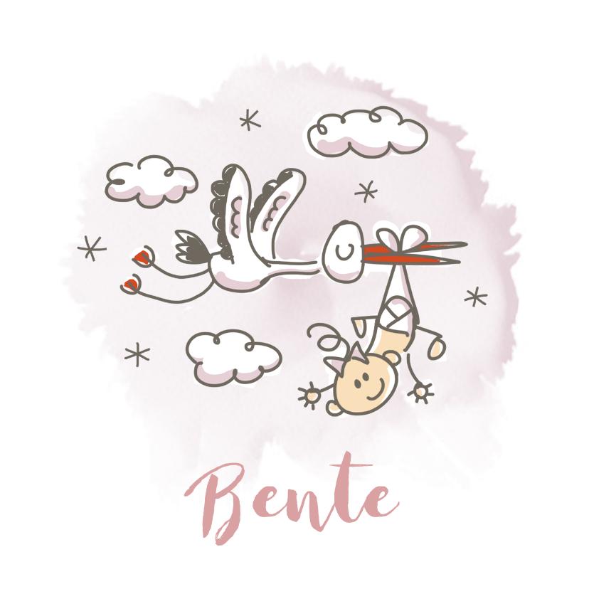 Geboortekaartjes - Grappig geboortekaartje met vliegende ooievaar en meisje