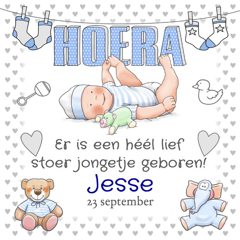 Geboortekaartjes - Grappige geboortekaart Hoera jongen en knuffels