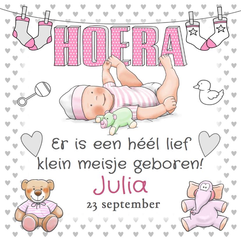 Geboortekaartjes - Grappige geboortekaart Hoera meisje en knuffels