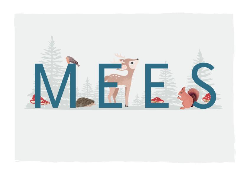 Geboortekaartjes - Grijsgroen geboortekaartje jongen met illustratie van dieren