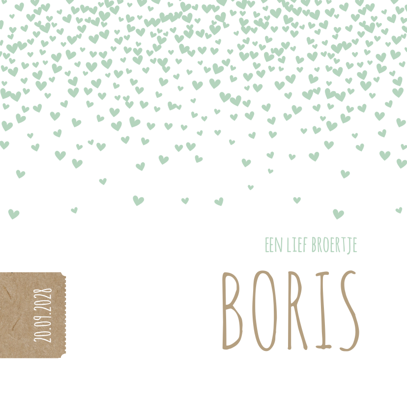 Geboortekaartjes - Groene hartjes confetti