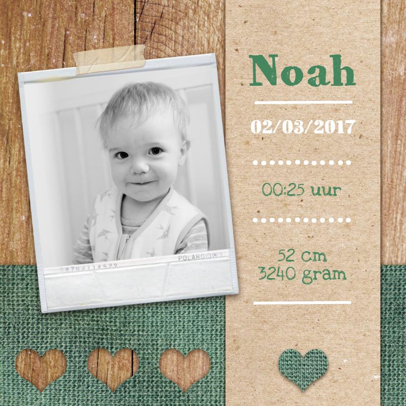 Geboortekaartjes - Groene hartjes en hout
