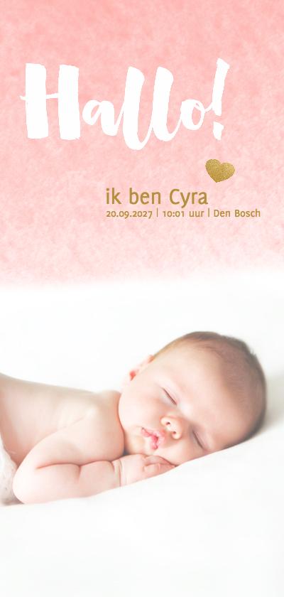 Geboortekaartjes - Hallo kaart langwerpig waterverf roze - DH