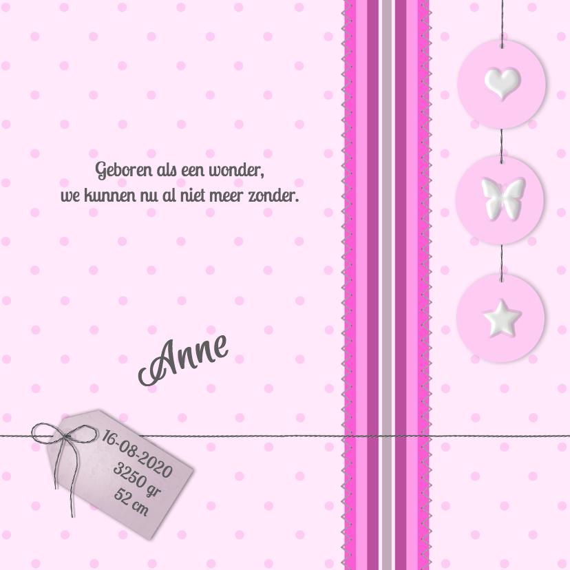 Geboortekaartjes - Hart, vlinder en ster -meisje-