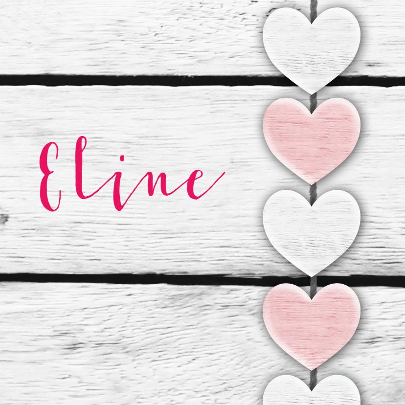 Geboortekaartjes - Harten roze tekst houtprint