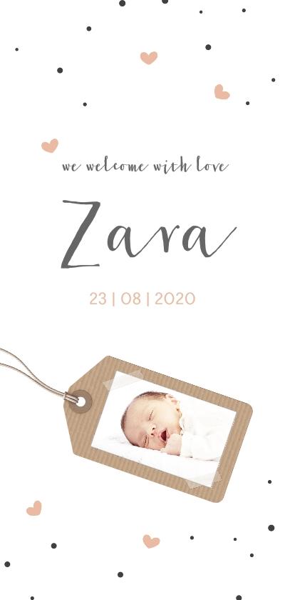Geboortekaartjes - Hartjes en fotolabel