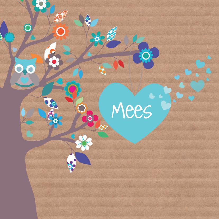 Geboortekaartjes - Hartjesboom geboortekaartje Mees
