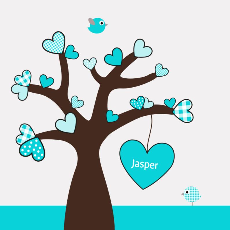 Geboortekaartjes - Hartjesboom jongen