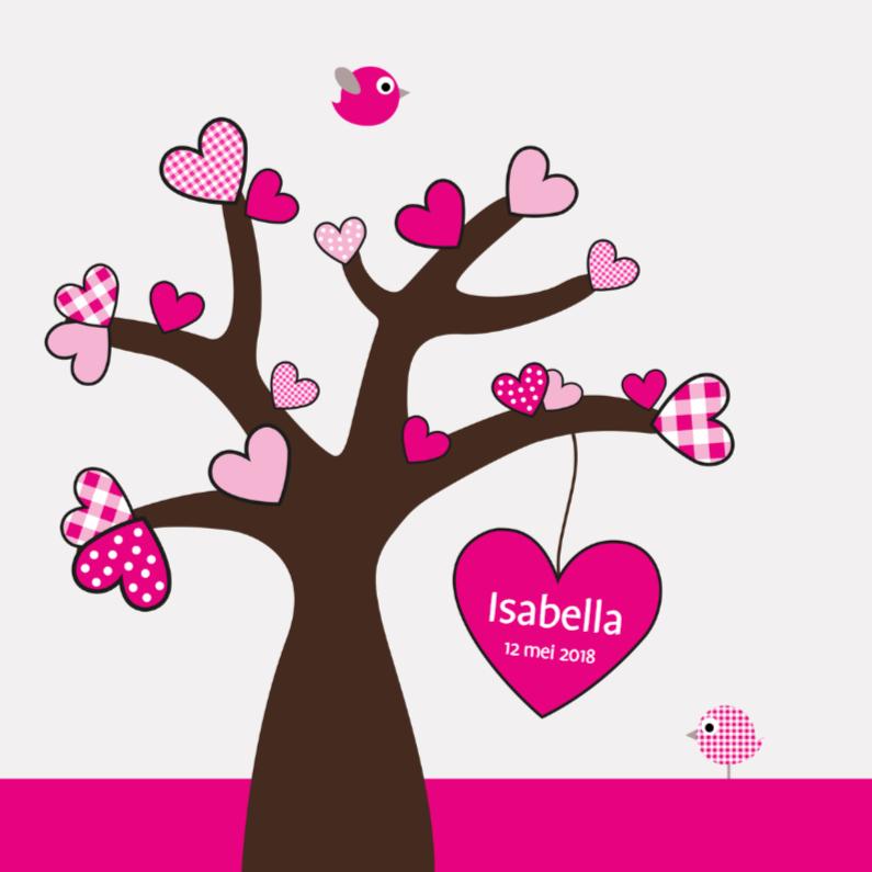 Geboortekaartjes - Hartjesboom meisje