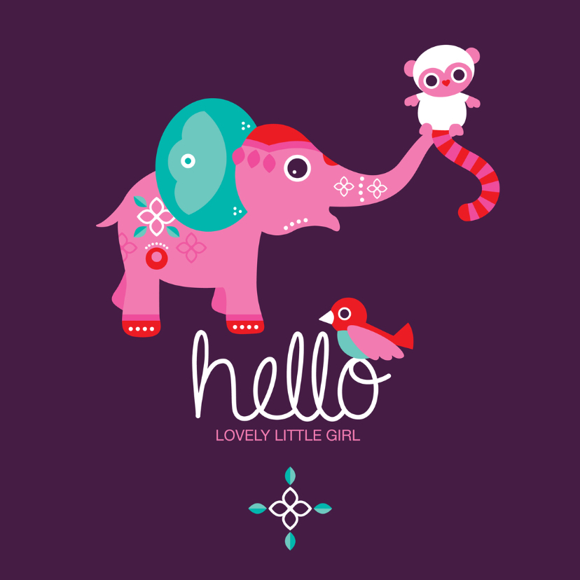 Geboortekaartjes - Hello olifant vogel en aapje
